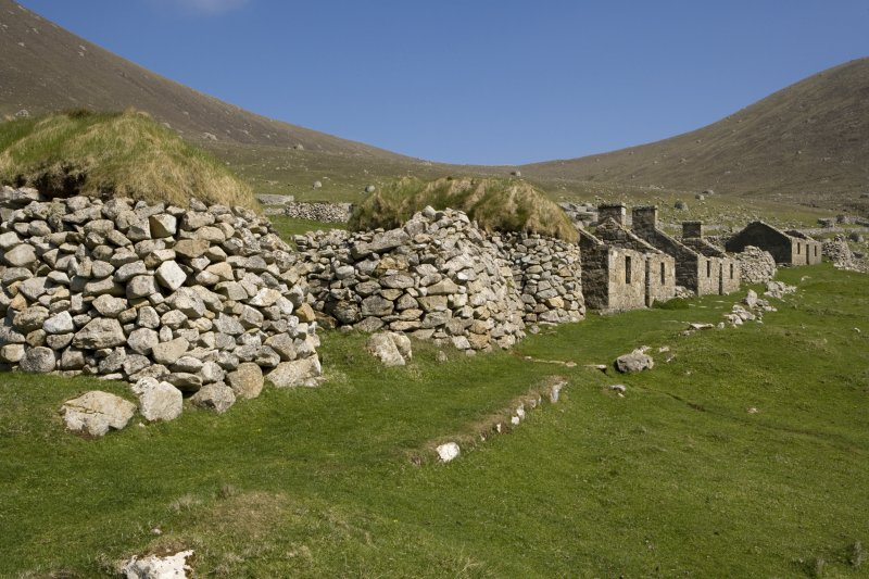 Hirta, Village Bay. View from SW, including houses 11-13 and blackhouses P-R.