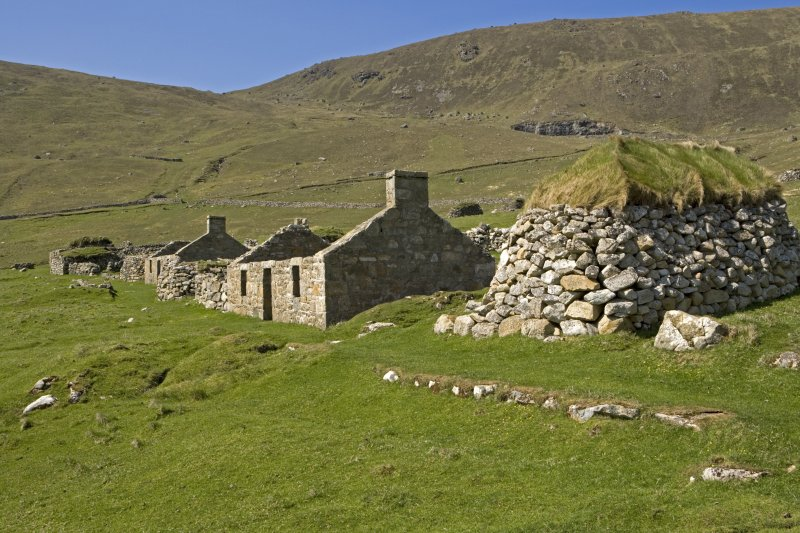Hirta, Village Bay. View from SE, including houses 14-15 and cleit 78.