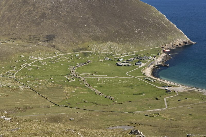Hirta, Village Bay. General view from W including the Ministry of Defence Establishment.