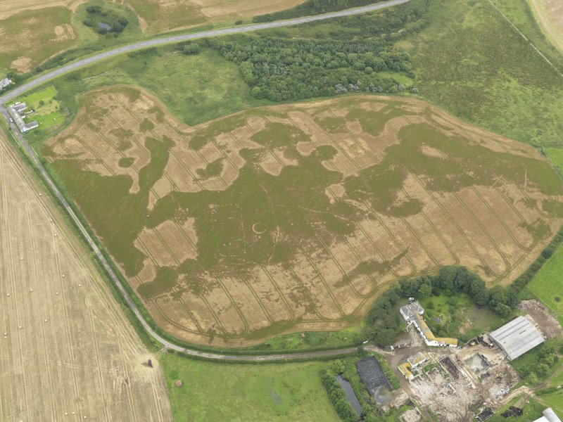Oblique aerial view of the cropmarks of the pit defined avenue and cursus and the barrow at Kirkmabreck, taken from the WSW.