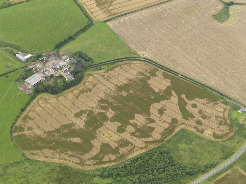 Oblique aerial view of the cropmarks of the pit defined avenue and cursus and the barrow at Kirkmabreck, taken from the ESE.