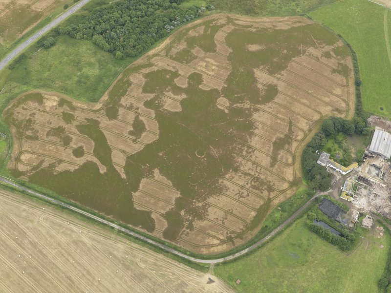 Oblique aerial view of the cropmarks of the pit defined avenue and cursus and the barrow at Kirkmabreck, taken from the NW.