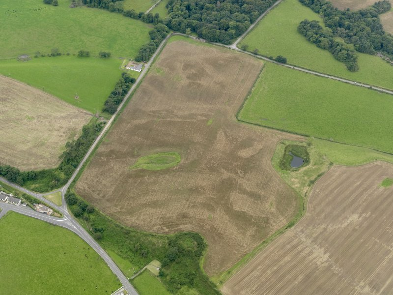 Oblique aerial view of the cropmarks of the palisaded settlements, possible enclosure and the remains of the motte at Balgreggan, taken from the ENE.