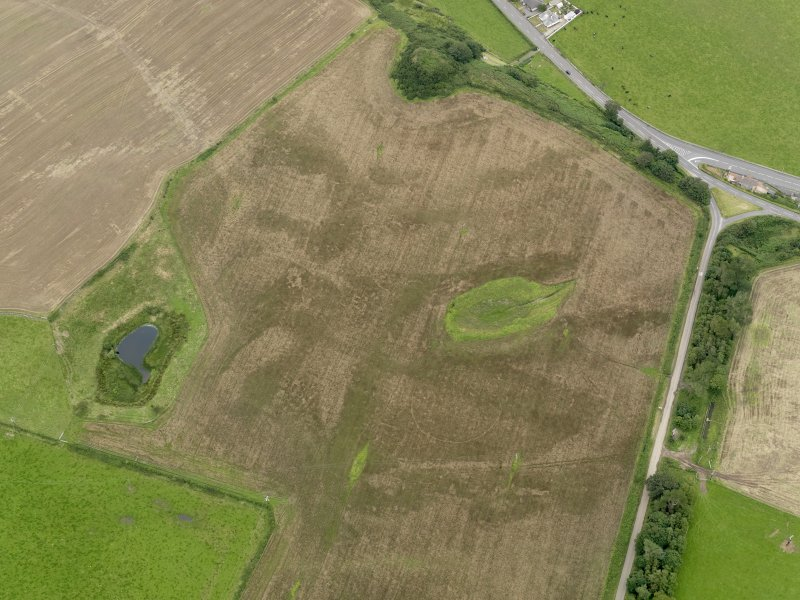 Oblique aerial view of the cropmarks of the palisaded settlements, possible enclosure and the remains of the motte at Balgreggan, taken from the WSW.