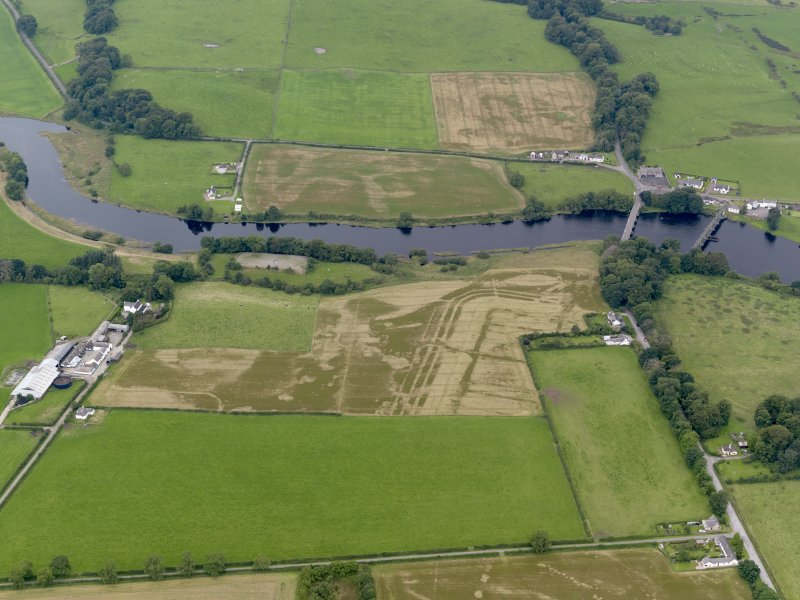 General oblique aerial view of the cropmarks of the Roman fort at Glenlochar, taken from the N.