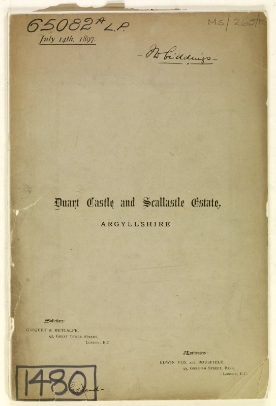 Cover Page of Estate Exchange, no. 1480 Sales Brochure. Inscribed:  ''Duart Castle and Scallastle Estate, Argyllshire''