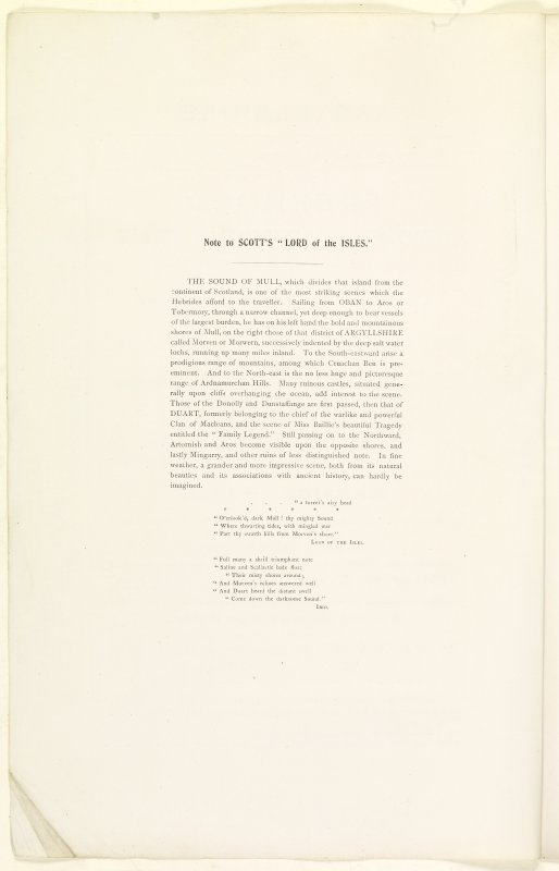 Abstract page (verso) of Estate Exchange, no. 1480 Sales Brochure. Inscribed:  ''Note to Scott's 'Lord of the Isles.' The Sound of Mull, which divides that island from the continent of Scotland, is one of the most striking scenes which the Hebrides afford to the traveller... '' ''a turret's airy head,  O'erlook'd, dark Mull!  thy mighty Sound,  Where thwarting tides, with mingled war Part thy swarth hills from Morven's shore.''  Lord of the Isles...