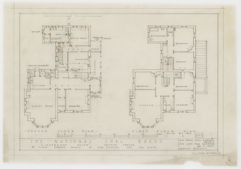 Ground and first floor plans showing sub-division of property into two flats.