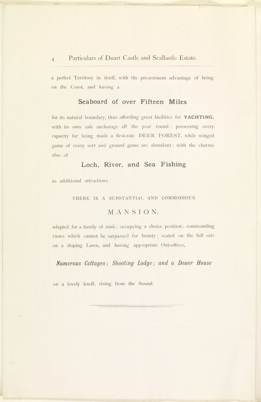Page 4  of Estates Exchange, no. 1480 Sales Brochure. Inscribed: ''...a perferct territory in itself, with the pre-eminent advnatge of being on the Coast, and having a Seaboard of over 15 miles...''