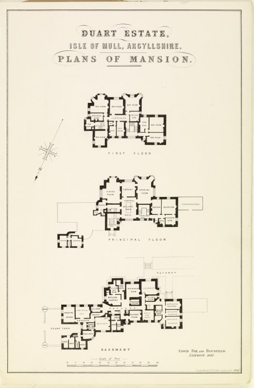 Floor plans of Torosay Castle in no. 1480 Sales Brochure, Page 6 (opposite). Inscribed: 'Duart Estate, Isle of Mull, Argyllshire, Plans of Mansion. Basement, Principal Floor and First Floor.'