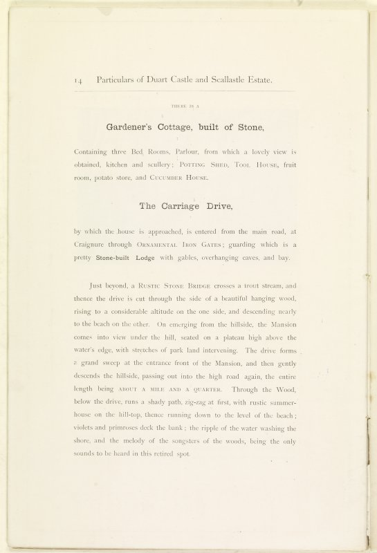 Page 14 of Estate Exchange, no. 1480 Sales Brochure. Inscribed: ''There is a Gardener's Cottage, built of Stone, containing three Bed-Rooms, Parlour, from which a lovely view is obtained, kitchen and scullery; potting shed, tool house, fruit room, potato store and cucumber house...''
