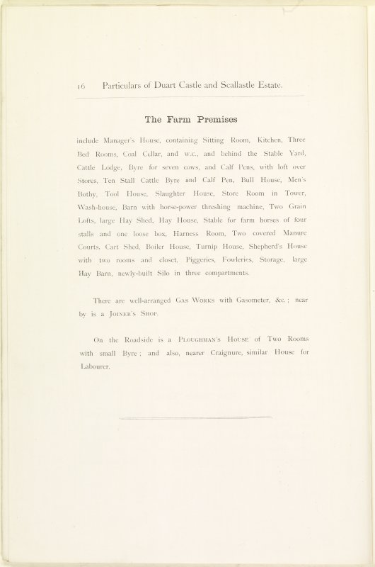Page 16 of Estates Exchange, no. 1480 Sales Brochure. Inscribed: ''The Farm Premises include Manager's House, containing Sitting Room, Kitchen, Three Bed Rooms, Coal Cellar...''