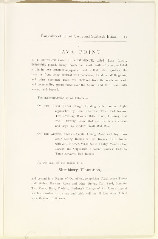 Page 17 of Estates Exchange, no. 1480 Sales Brochure. Inscribed: ''At Java Point is a substantially-built residence, called Java Lodge, delightfully placed, facing nearly due south, built of stone, secluded within its own ornamentally-planted and well-shrubbed gardens...''