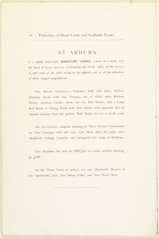 Page 18 of Estates Exchange, no. 1480 Sales Brochure. Inscribed: ''At Ardura is a capital stone-built Shooting Lodge, seated on a knoll, near the head of Loch Spelve, overlooking the lovely valley of Lussa...''