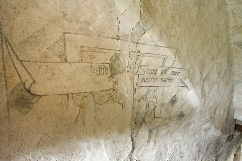 Interior. Tower. Ground floor. Portcullis gate. Mural stair. Wall painting. Detail