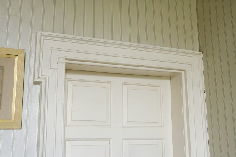 Interior. Tower.First t floor. East/West Chintz bedroom connecting door. Lugged architrave. Detail
