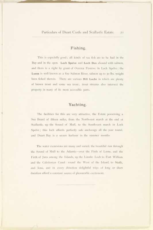 Page 21 of Estates Exchange, no. 1480 Sales Brochure. Inscribed: ''Fishing. This is especially good; all kinds of sea fish are to be had in the Bay and in the open. Loch Spelve and Loch Don abound with salmon, and there is a right by grant of Oyster Fishing in Loch Spelve...''
