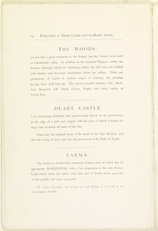 Page 24 of Estates Exchange, no. 1480 Sales Brochure. Inscribed: ''The Woods are not only a great ornament to the Estate, but the Timber is in itself of considerable value...''