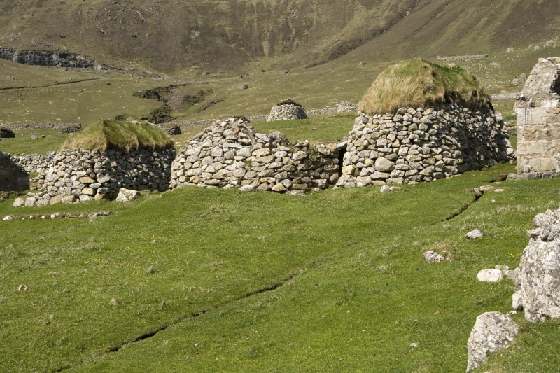 Hirta, Village Bay. View from S of blackhouse R and cleits 78-9.