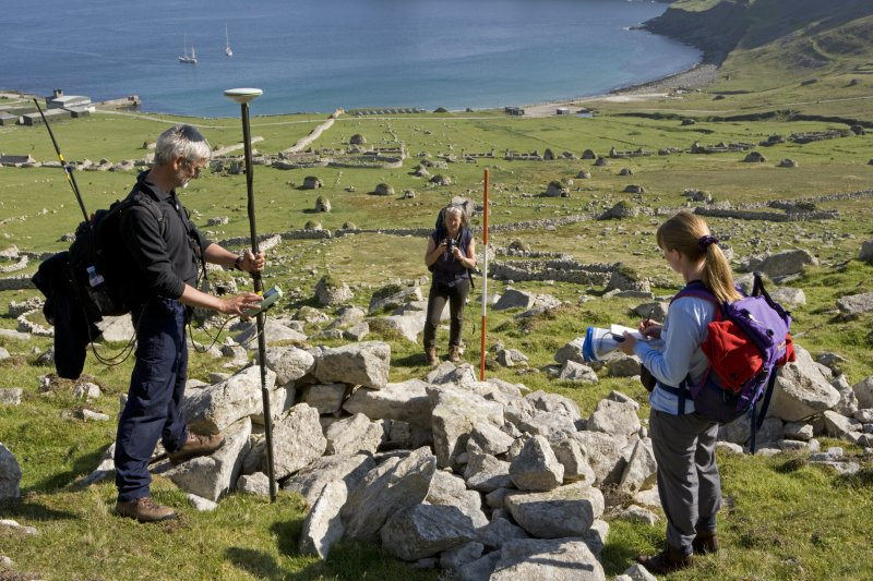 Hirta, Village Bay. GPS survey in progress with Ian Parker and Angela Gannon from RCAHMS, and Jill Harden from NTS.