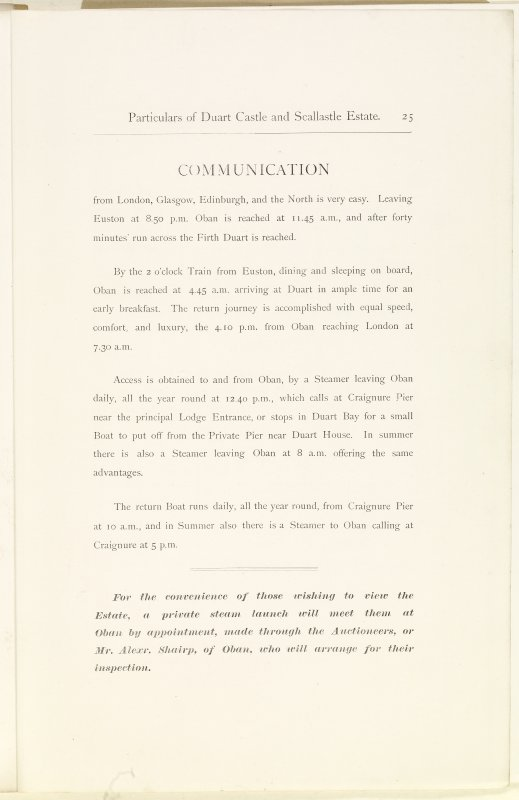 Page 25 of Estates Exchange, no. 1480 Sales Brochure. Inscribed: 'Communication from London, Glasgow, Edinburgh, and the North is very easy. Leaving Euston at 8:50 pm Oban is reached at 11:45 a.m., an ...