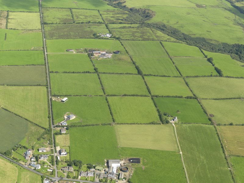 General oblique aerial view of the square patchwork field pattern, taken from the SSW.