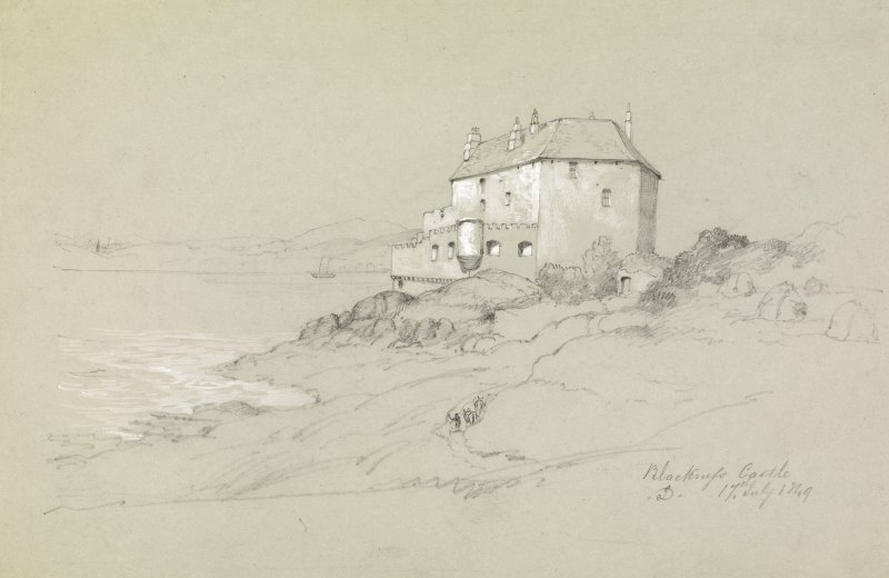 Drawing of Blackness Castle showing view from SW. Titled: 'Blackness Castle, D. 17th July 1849'