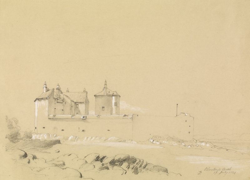Drawing of Blackness Castle showing view from SE.