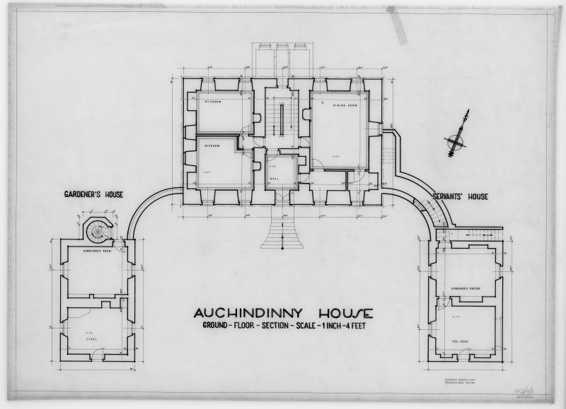 Ground floor plan, including servants and gardener's houses.