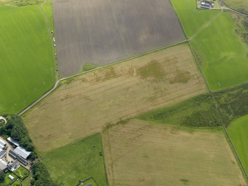Oblique aerial view centred on the remains of the chapel and burial ground at Cill Eileagain with the cropmarks and soilmarks of the possible enclosure adjacent, taken from the WNW.