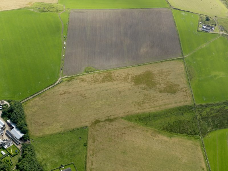 Oblique aerial view centred on the remains of the chapel and burial ground at Cill Eileagain with the cropmarks and soilmarks of the possible enclosure adjacent, taken from the W.