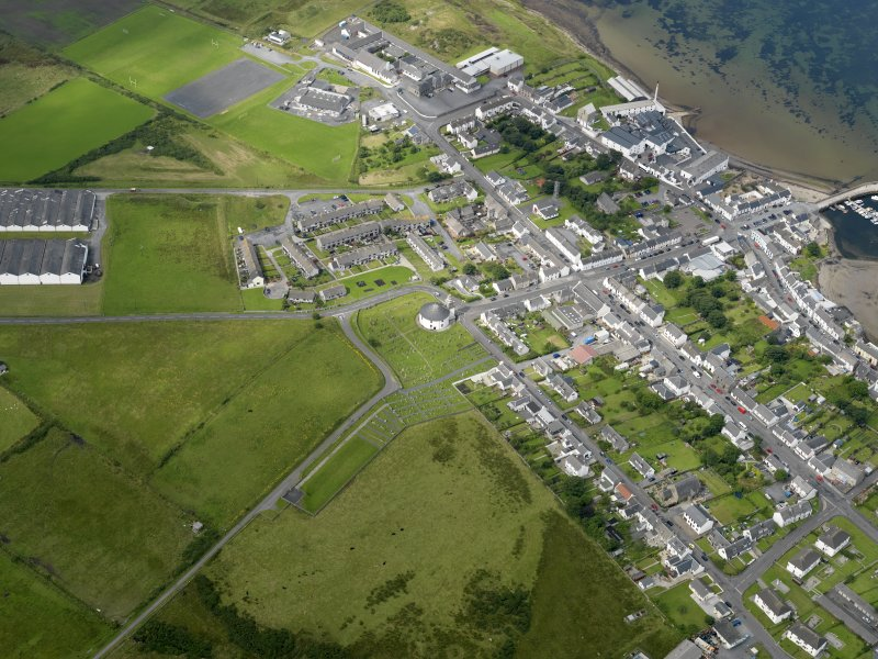 Oblique aerial view of the village of Bowmore, taken from the ESE.