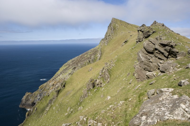 St Kilda, Hirta. Mullach Bi and the grass slopes above the cliffs viewed from S.