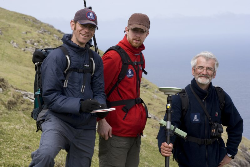 St Kilda, Hirta. Alex Hale, James Hepher and Ian Parker (all RCAHMS) on E slopes of Mullach Bi.
