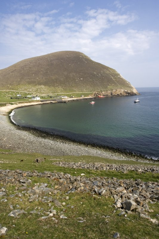 St Kilda, Hirta. View from W across Village Bay to Oiseval.