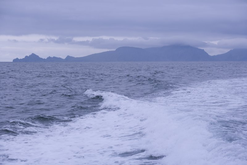 St Kilda, Hirta and Dun. Silhouette of the islands from the sea.