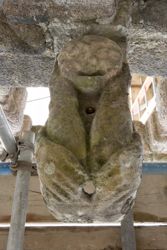 Gargoyle spout no. 394, view of underside (daylight)