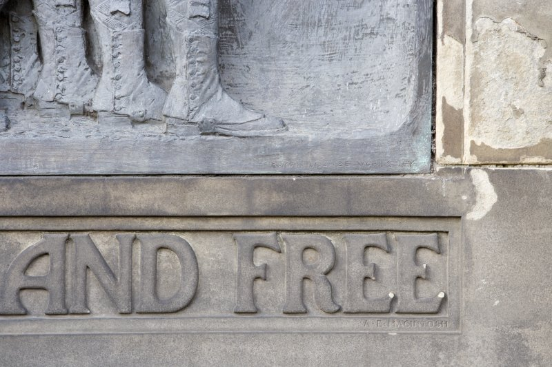 Scottish American Memorial. Frieze and Poet's name.