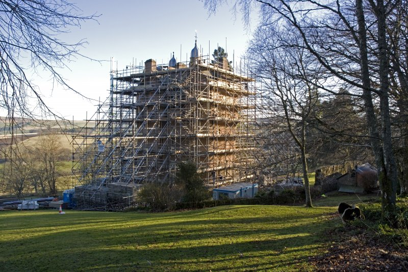 Castle under scaffolding, view from NW