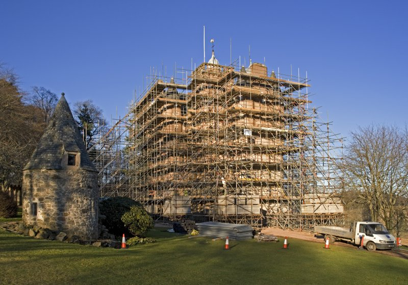 Castle under scaffolding, view from SW