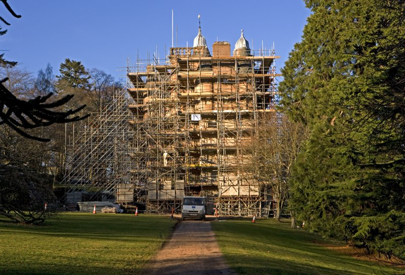 Castle under scaffolding, view from S
