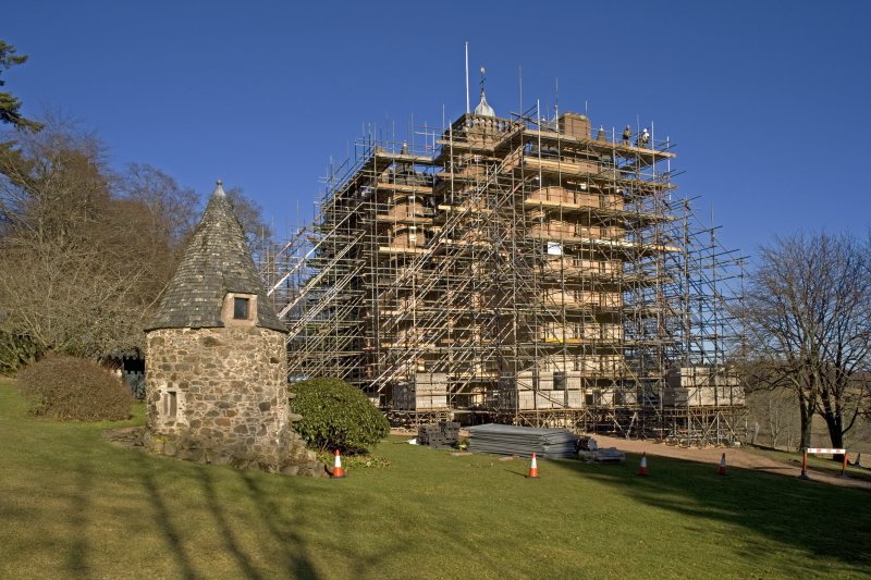 Castle under scaffolding, general view from SW