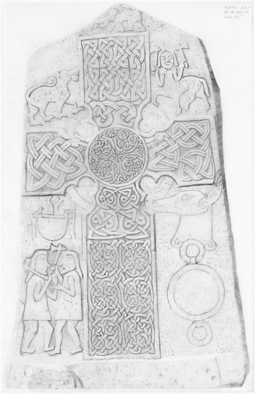 Digital copy of survey drawing of Glamis 2 Pictish Cross-slab, face a.