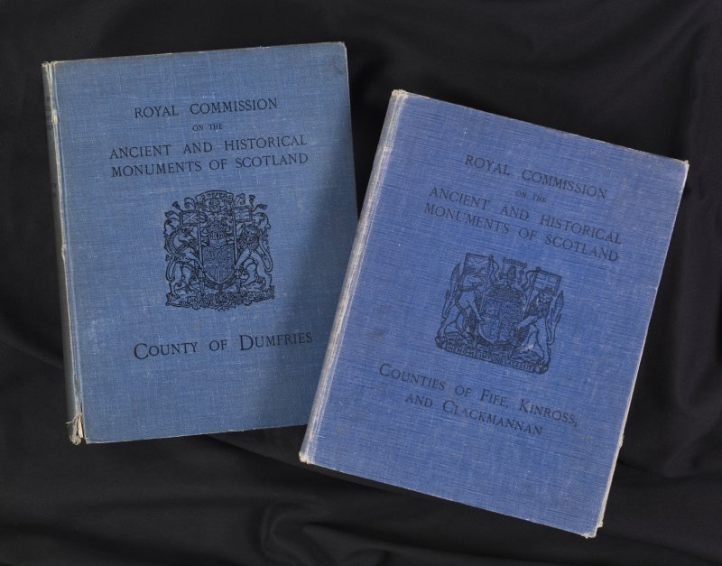 Front covers of  'Eleventh report with inventory of monuments and constructions in the counties of Fife, Kinross, and Clackmannan', RCAHMS, 1933 and 'Seventh report with inventory of monuments and con ...