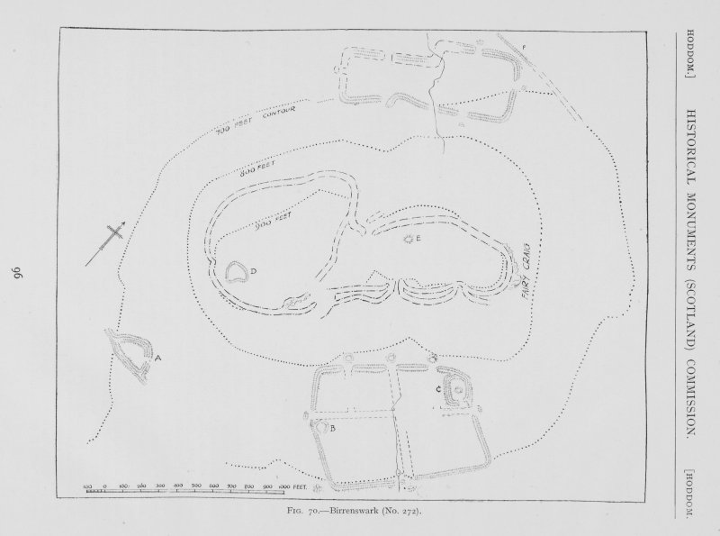Plan showing fortifications. Titled: 'Birrenswark'.