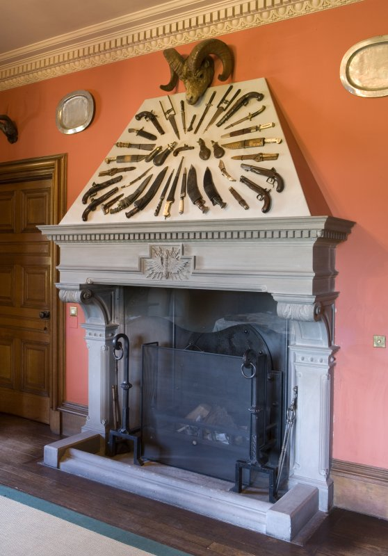 Interior. Ground floor. Detail of entrance hall fireplace