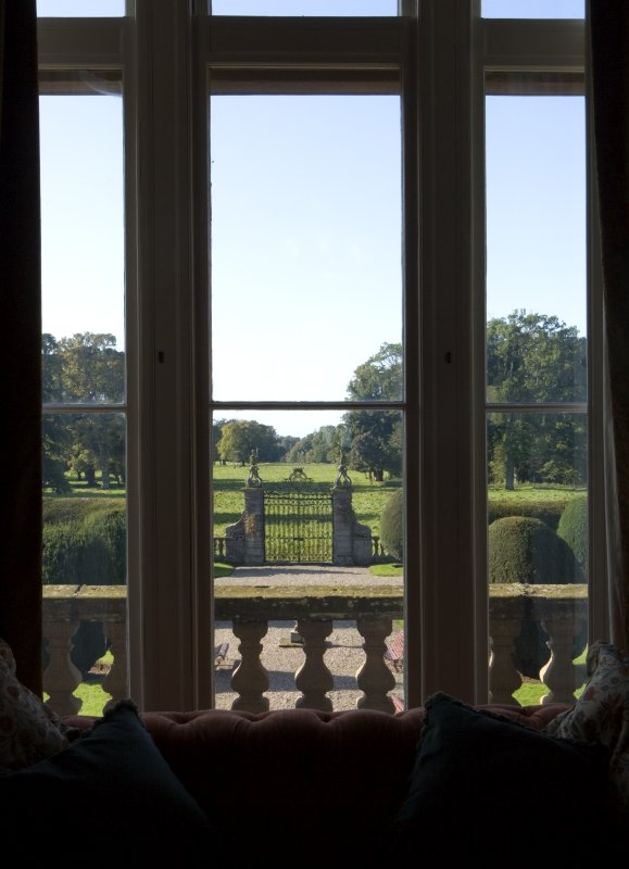 View of gates from 1st floor drawing room
