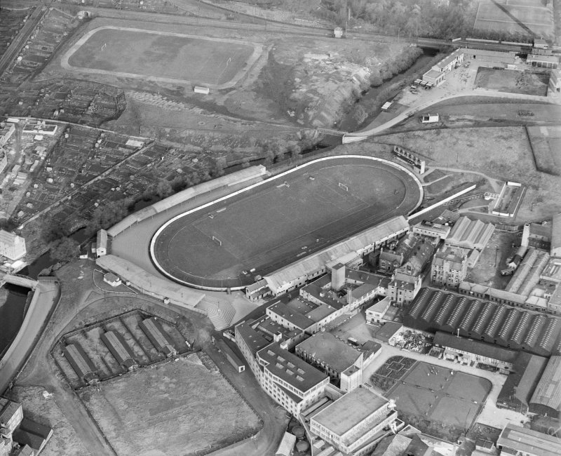 Oblique aerial view of Powderhall Stadium, Edinburgh, in 1937.