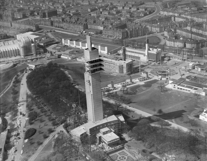 Glasgow, Empire Exhibition at Bellahouston Park prior to the opening 5 May 1938, oblique aerial view.
