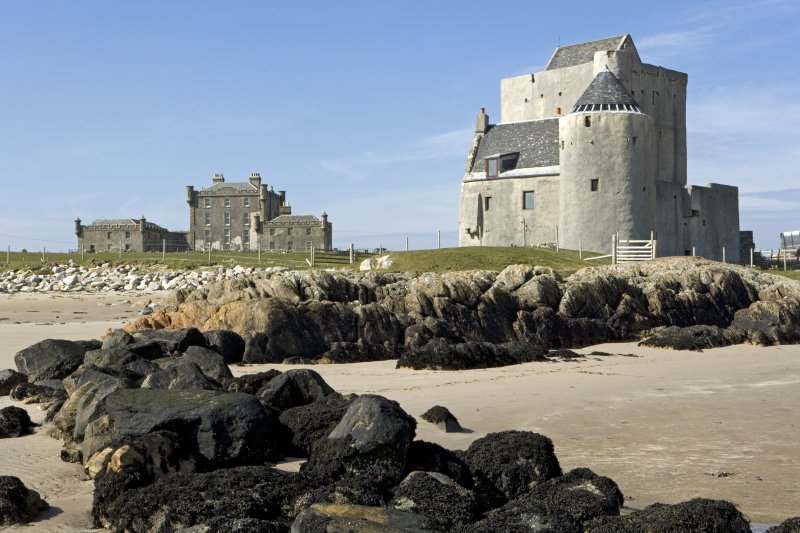 Breachacha House and Castle from beach to south.